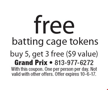 Free batting cage tokens. Buy 5, get 3 free ($9 value). With this coupon. One per person per day. Not valid with other offers. Offer expires 10-6-17.