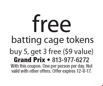 Free batting cage tokens. Buy 5, get 3 free ($9 value). With this coupon. One per person per day. Not valid with other offers. Offer expires 12-8-17.