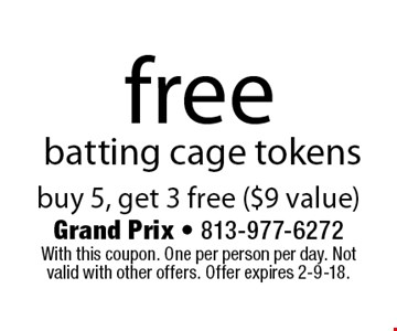 free batting cage tokens buy 5, get 3 free ($9 value). With this coupon. One per person per day. Not valid with other offers. Offer expires 2-9-18.