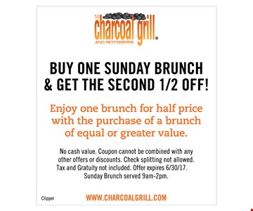 Buy One Sunday Brunch & Get The Second 1/2 Off!