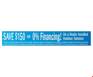 Save $150 or get 0% financing