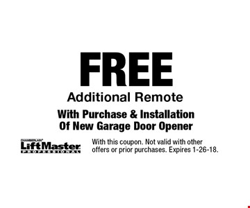 FREE Additional Remote With Purchase & Installation