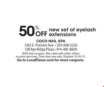 50% Off new set of eyelash extensions. With this coupon. Not valid with other offers or prior services. One time use only. Expires 12-10-17. Go to LocalFlavor.com for more coupons.