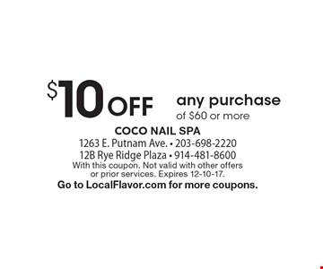 $10 Off any purchase of $60 or more. With this coupon. Not valid with other offers or prior services. Expires 12-10-17. Go to LocalFlavor.com for more coupons.