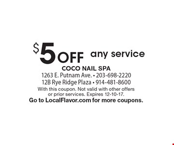 $5 Off any service. With this coupon. Not valid with other offers or prior services. Expires 12-10-17. Go to LocalFlavor.com for more coupons.