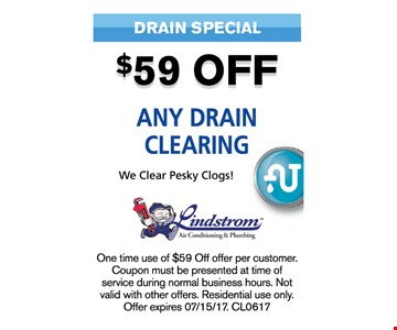 $59 off any drain clearing
