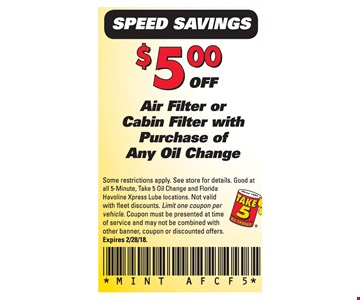 $5 Off Air Filter or Cabin Filter with purchase of any oil change