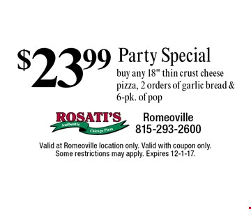 $23.99 Party Special. Buy any 18