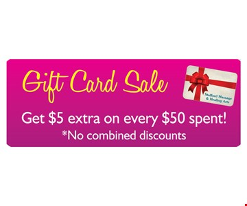 Gift Card Sale! Get $5 extra on every $50 spent! No combined discounts.