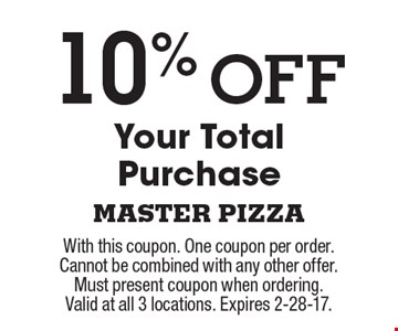 10% Off Your Total Purchase. With this coupon. One coupon per order. Cannot be combined with any other offer. Must present coupon when ordering. Valid at all 3 locations. Expires 2-28-17.