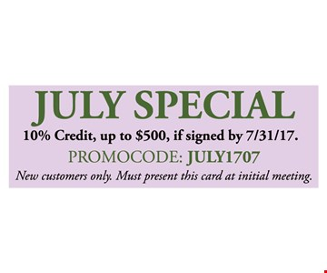 10% Credit, up to $500