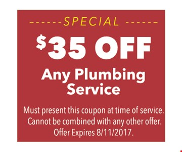 Special, $35 off any plumbing service