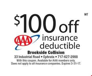 $100 off insurance deductible. With this coupon. Available for AAA members only. Does not apply to all insurance companies. Expires 3-31-17.