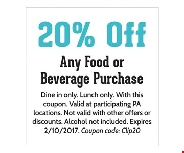 20% any food or beverage purchase
