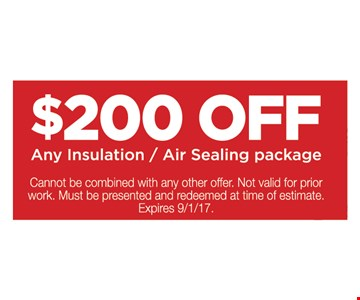 $200 Off Any Insulation / Air Sealing Package