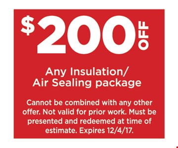 $200 off any insulation/air sealing package