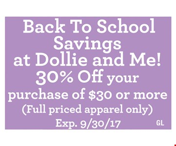 30% off your purchase of $30 or more