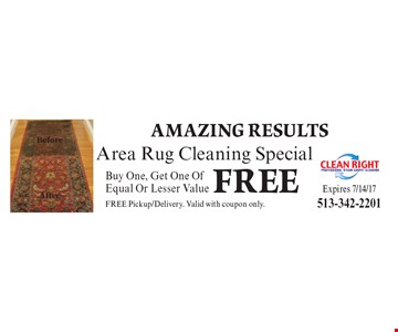 Free area rug cleaning special. Buy one, get one of equal or Lesser value free. Pickup/delivery. Valid with coupon only.. Expires 7/14/17