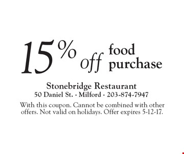 15% off food purchase. With this coupon. Cannot be combined with other offers. Not valid on holidays. Offer expires 5-12-17.