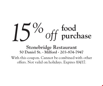 15% off food purchase. With this coupon. Cannot be combined with other  offers. Not valid on holidays. Expires 8/4/17.