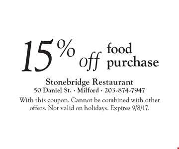 15%off food purchase. With this coupon. Cannot be combined with other 