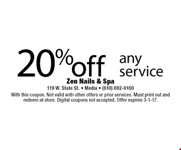 20%off any service. With this coupon. Not valid with other offers or prior services. Must print out and redeem at store. Digital coupons not accepted. Offer expires 3-1-17.