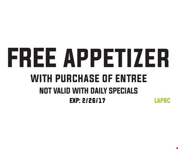 Free Appetizer with Purchase of Entree