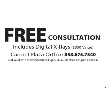 free consultation. Includes Digital X-Rays ($350 Value). Not valid with other discounts. Exp. 5-26-17. Mention Coupon Code CG