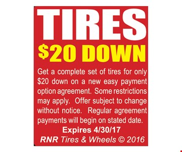 Tires $20 down