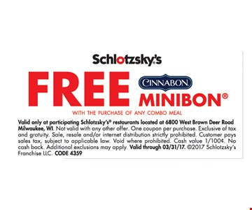 Free Cinnabon Minibon with the purchase of any combo Meal