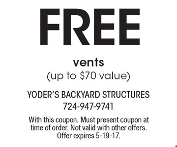 Free vents(up to $70 value). With this coupon. Must present coupon at time of order. Not valid with other offers. Offer expires 5-19-17.