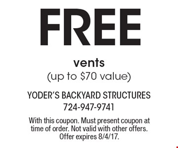 Free vents(up to $70 value). With this coupon. Must present coupon at time of order. Not valid with other offers. Offer expires 8/4/17.