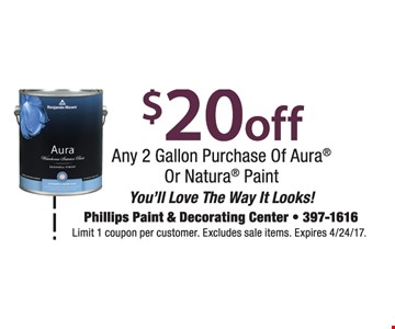 $20 off any 2 gallon purchase of Aura or Natura paint