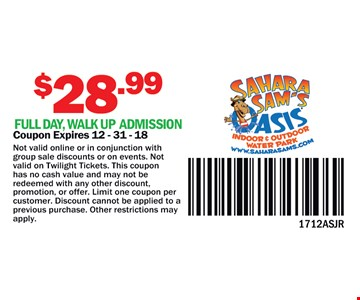 $28.99 full day walkup admission