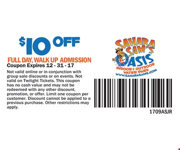 $10 off full day walk up admission