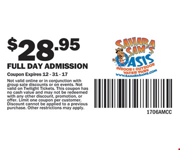Full day admission for $28.95.