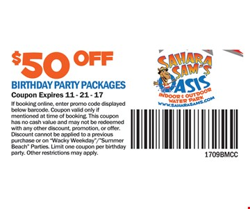 $50 birthday party packages