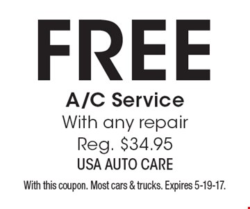 Free A/C service. With any repair, reg. $34.95. With this coupon. Most cars & trucks. Expires 5-19-17.