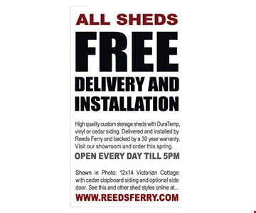 All Sheds free delivery and installation