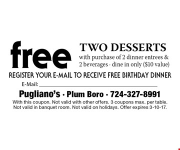 Two free desserts with purchase of 2 dinner entrees & 2 beverages. Dine in only ($10 value). With this coupon. Not valid with other offers. 3 coupons max. per table. Not valid in banquet room. Not valid on holidays. Offer expires 3-10-17.