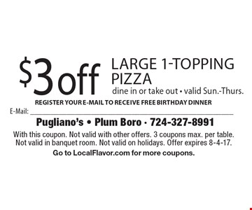 $3 off large 1-topping pizza. Dine in or take out - valid Sun.-Thurs. With this coupon. Not valid with other offers. 3 coupons max. per table. Not valid in banquet room. Not valid on holidays. Offer expires 8-4-17. Go to LocalFlavor.com for more coupons.