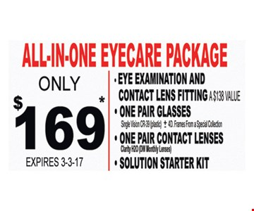 Eyecare package for $169.
