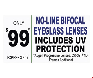 NoLine bifocal lenses for $99.