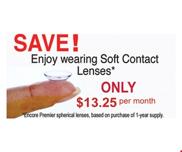 $13.25 a month soft contact lenses