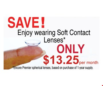 Soft Contact Lenses Only $13.25