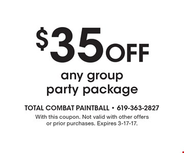 $35 Off any group party package. With this coupon. Not valid with other offers or prior purchases. Expires 3-17-17.