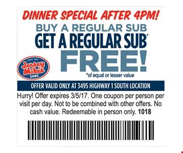 Buy a regular sub. Get a regular sub free