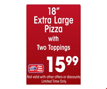 XL pizza for $15.99.