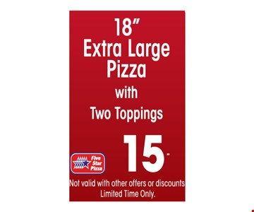 $15 18 inch extra large pizza