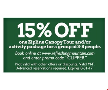 15% off one zipline canopy tour